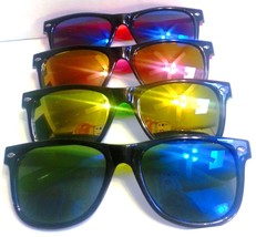 Wayfarer Sunglasses Multi Color Mirrored Lenses Black Frame Colored Arms - £5.44 GBP