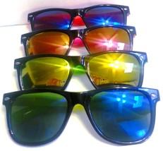 Wayfarer Sunglasses Multi Color Mirrored Lenses Black Frame Colored Arms - $7.59