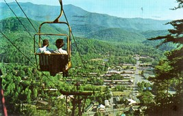 Looking Down On Gatlinburg, Tennessee (vintage 1970s) postcard -used - $4.00