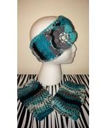 Black & Agua Blue Headband/Ear Warmer & Finger... - $30.00