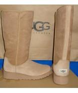 UGG KARA Chestnut Classic Tall Slim Suede Sheepskin Wedge Boots Size US 8 NIB - $139.85