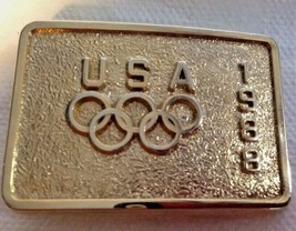 Olympics USA 1988 Metal Belt Buckle Small Gold-tone Lic Product USOC fro... - $18.79