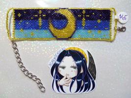 Crescent Moon with Stars Darker Version Handmade Flat Bracelet - $65.00