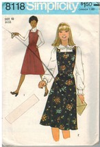 8118 Vintage Simplicity Sewing Pattern Misses Top Stitched Jumper Fall W... - $4.89