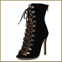 Black Lace Up Open Toe Back Zip Up Stiletto High Heel Patent Leather Ankle Boots image 2