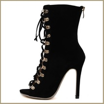 Black Lace Up Open Toe Back Zip Up Stiletto High Heel Patent Leather Ankle Boots image 3