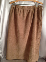 Vintage Brown Suede Skirt, Hand Sewn, Button Down Side, 40 Inch Waist, G... - $32.00