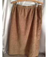 Vintage Brown Suede Skirt, Hand Sewn, Button Do... - $32.00