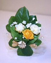 Prom,Wedding Accssories, Yellow and White-off Flowers Corsage, Prom Acce... - $9.99