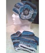 Black & Aqua Blue Hat  & Fingerless Gloves Set ... - $35.00