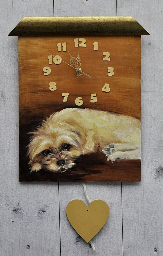 Custom PAINTED CLOCK, Dog clock, Custom Pet portrait, Wall clock, Personalized