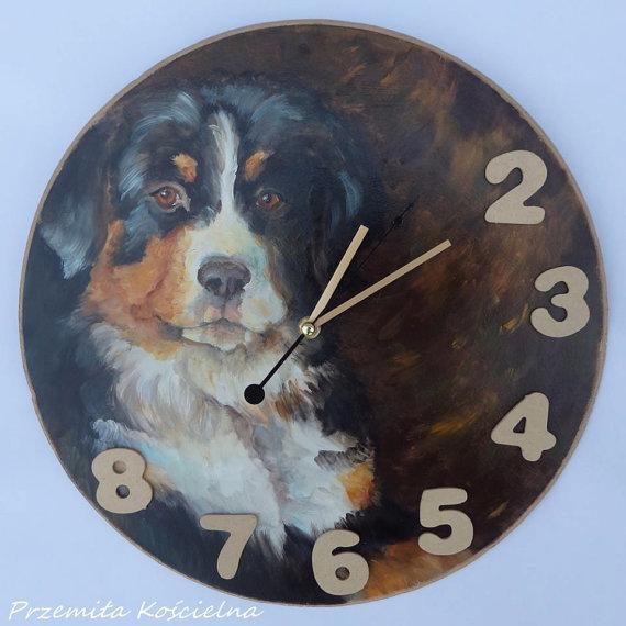 CUSTOM PAINTED CLOCK, PET MEMORIAL, Hand made Wall Clock, Dog portraitl, Dog Art