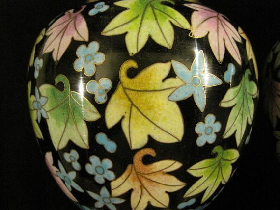 Chinese export vintage cloisonne vase pair mable leaf estate find