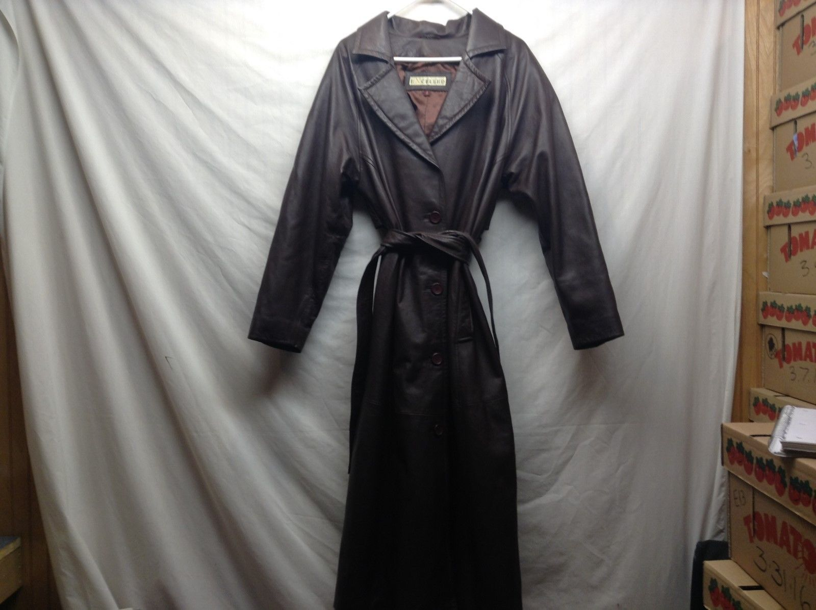 Excelled Black Leather Trench Coat w Belt Sz Medium
