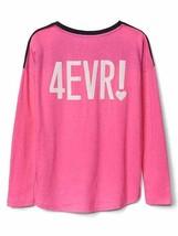 GAP Kids Girls T-shirt 14 16 Pink Navy Best Friend Graphic Long Sleeve Crew Neck image 2