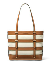 Michael Kors Marie Large Canvas & Leather Cage Tote Acorn / Natural New ... - $134.00