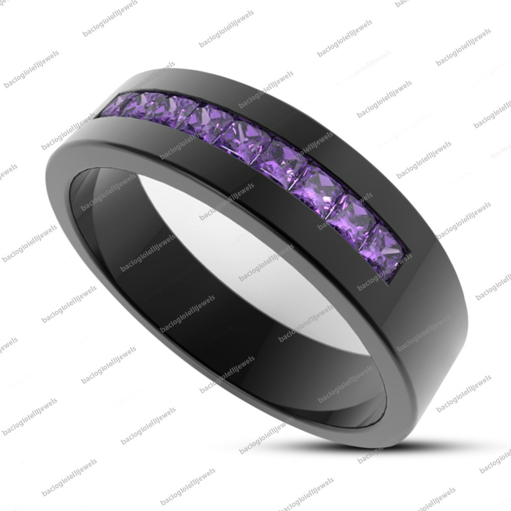 Men's Princess Cut Purple Amethyst 14k Black Fn. 925 Silver Engagement Band Ring