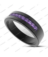 Men's Princess Cut Purple Amethyst 14k Black Fn. 925 Silver Engagement Band Ring