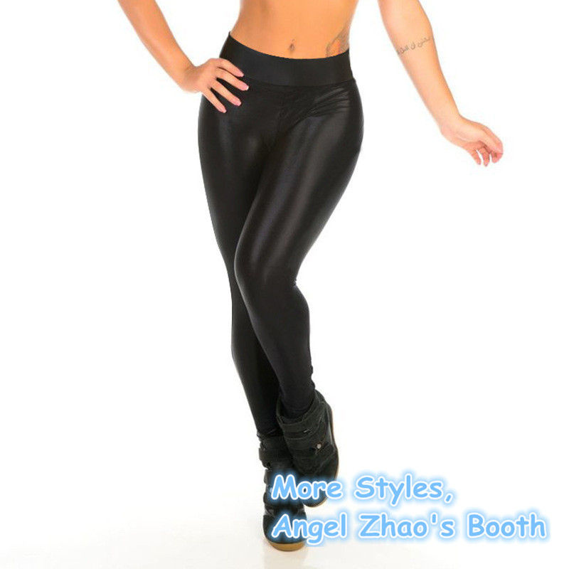 Shiny black fitness leggings 9