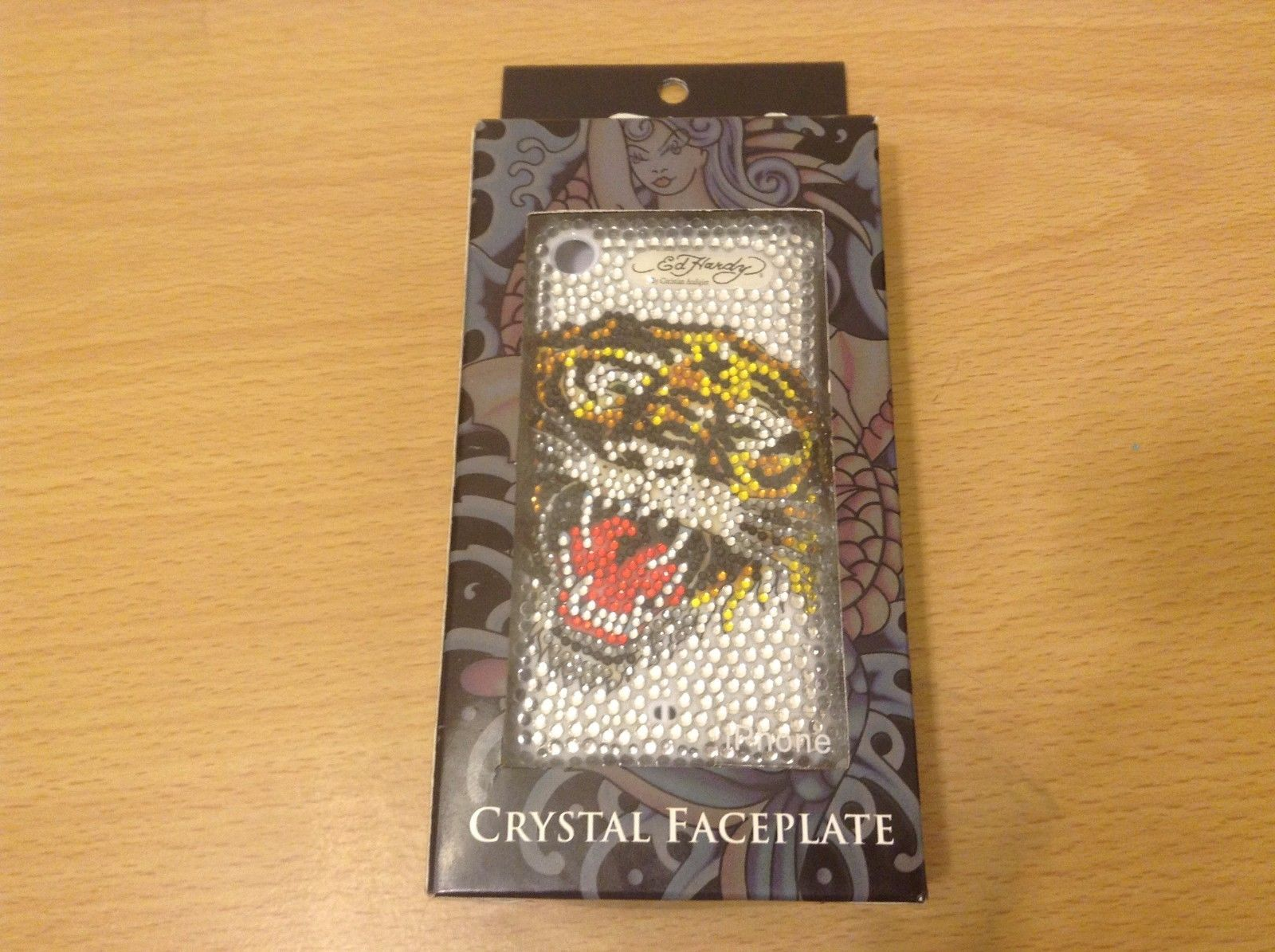 Ed Hardy Icing Vintage Original iPhone Crystal Face Plate New In Box Tiger