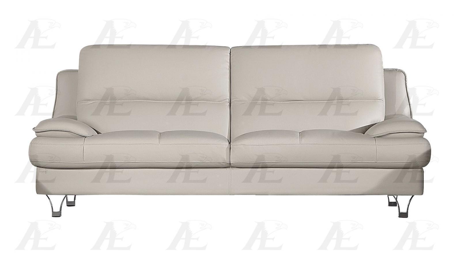 American eagle ek b109 modern light gray genuine leather for Gray leather sofa set
