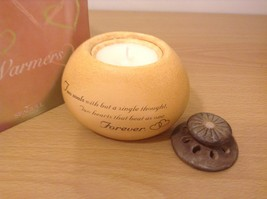 "Heart Warmers Romantic Ceramic Tealight Holder With Candle ""Forever"" New in Box"