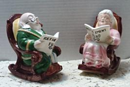 Vintage LEFTON CHINA Retirement Fund Grandpa Grandma Elderly Couple Banks - $20.00