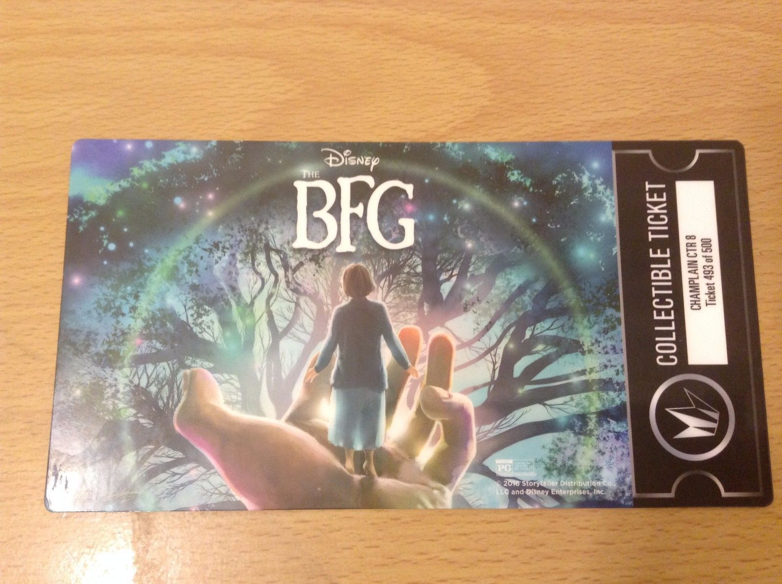 The BFG Collectible Ticket Exclusive 493 of 500