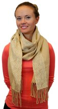Women's Winter Warm Large Scarf With White Lace Stripe, Beige - £3.53 GBP