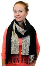 Women's Winter Warm Large Scarf With White Lace Stripe, Black - £3.53 GBP