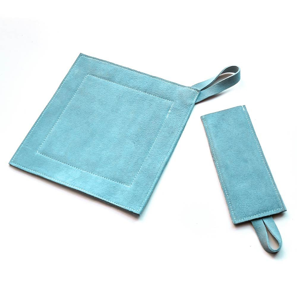 All Purpose Leather Suede Hot Pad/Trivet/Pot Holder & Handle Holder Combo. Slate
