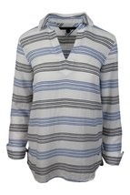 Tommy Hilfiger Women's White Blue Striped Pullo... - $55.04