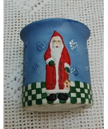 NIB ceramic Santa Candle Holder with Candle - $4.90