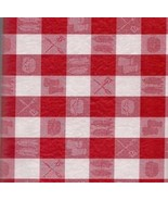 Red White Check Gingham Tablecloth table cover cookout burger table cloth  - $11.99