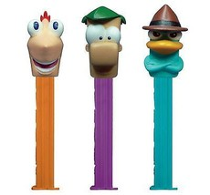 12 PHINEAS & FERB PEZ, EACH WITH 2 PACKS OF 6 ROLLS PEZ CANDY REFILLS  - $26.72