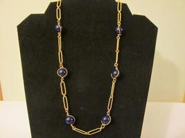 "Retro / Vintage Avon ""Easy Elegance"" Necklace - Gold Toned with Dark Blu... - $9.99"