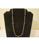"""Retro / Vintage Avon """"Easy Elegance"""" Necklace - Gold Toned with Dark Blue Beads - £7.67 GBP"""