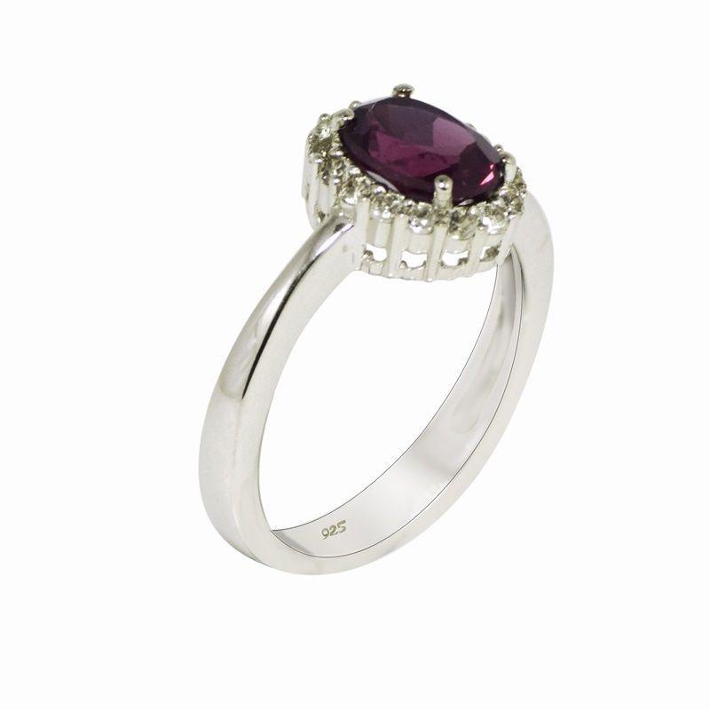 Rhodolite Garnet 925 Sterling Silver Rhodium Flash Wedding Ring Sz 7.5 SHRI0540