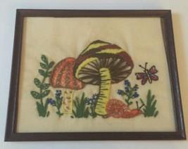 Vtg Mushrooms Snail Butterfly Finished Crewel E... - $19.79