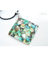 35*35mm square natural paua abalone shell mosiac Pendant Necklace w Chain - $12.49