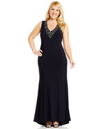Betsy & Adam New Navy Embellished V-Neck Sleeveless Dress   Plus  16W   ... - $89.99
