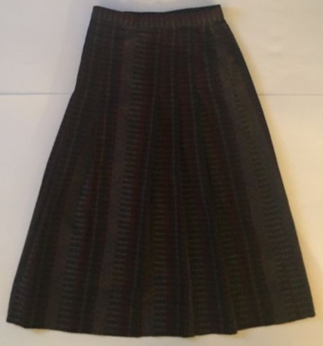 Vtg Long Pleated Skirt XS S Red Navy Blue Plaid Checks