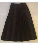 Vtg Long Pleated Skirt XS S Red Navy Blue Plaid Checks  - $11.87