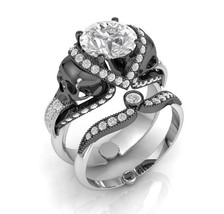 Skull Engagement Ring Set in 10 k Gold White Mo... - $1,295.00