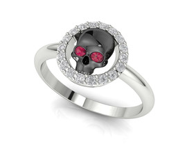 Skull Engagement Ring Temple of the Ancient Dragon - $109.00