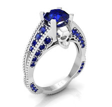 Platinum Skull Engagement Ring with Blue Sapphire - $1,995.00 - $3,295.00