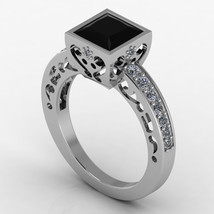 Gothic Engagement Ring Silver 925 Black Diamond - $159.99
