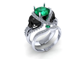 Skull Engagement Ring 10 k Gold with Green Emerald - $699.00 - $799.00