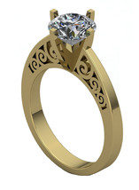 Gothic Engagement Ring with White Moissanite .7... - $799.00
