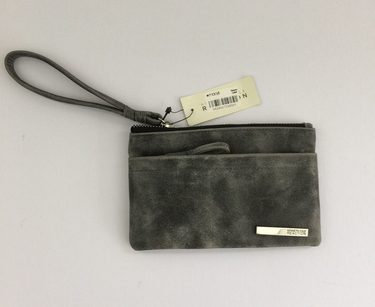New Kenneth Cole Reaction It's a Wrap Flat Wristlet Cool Gray